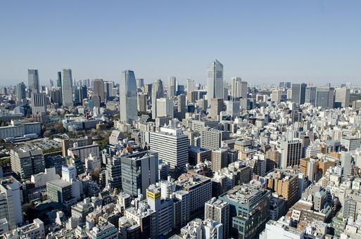日本 国内 東京都 屋外 外 風景 景観 都市 都会 町並み 街並み 建物 建造物 ビル ビル街 眺望 眺め 空 青空 快晴 晴れ 晴天 広い ワイド ビル群