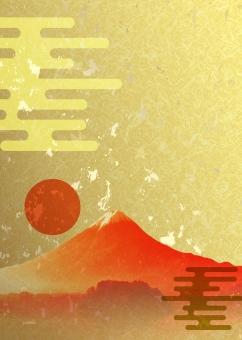 富士山 赤富士 年賀状 年賀 新年 正月 お正月 金箔 金 紙 背景 背景素材 テクスチャー テクスチャ テンプレート 和風 和柄 日本 伝統 初日の出 日の出 日本風 年賀はがき background クールジャパン japan paper gold golden ご来光