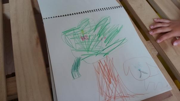 こども 女の子 幼稚園 手描き 子ども 子供 作品 夏 色鉛筆 色えんぴつ 絵 お絵かき お絵描き スケッチブック 幼稚園児 手 子どもの手 指 女の子の手 木 犬