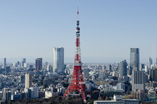 日本 国内 東京都 港区 建物 建造物 電波塔 タワー 東京タワー 高い 都市 都会 町並み 街並み ビル ビル街 空 青空 晴れ 晴天 快晴 風景 景色 景観 眺望 眺め 六本木ヒルズ 観光地 観光スポット