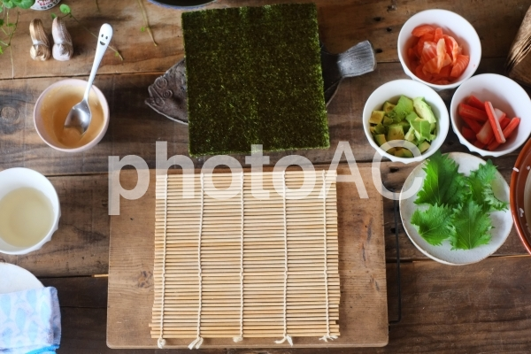 巻き寿司準備の写真