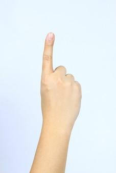 手 ハンド ハンドパーツ ボディパーツ 人物 指 手元 手首 ジェスチャー 身振り 肌 人肌 腕 パーツ 部位 片手 片腕 白バック 白背景 右手 1 1 一本 合図 数える カウント 上 指す 指差し コピースペース テキストスペース