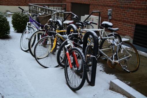 駐輪 自転車 チャリ マナー 冬 雪 寒 ボストン 町 街 都会 アメリカ 合衆国 Boston US bike