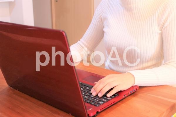 パソコンを操作する女性の写真