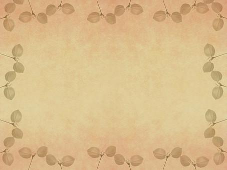 葉 木の葉 素材 葉脈 植物 自然 パターン 暖色 ナチュラル 暖かい 空間 余白 テクスチャ 質感 背景 背景素材 バックグラウンド テキストスペース コピースペース 二葉 双葉 新芽 発芽 芽 生える 透かし 透ける 半透明 ベージュ 枠 フレーム 額 加工 写真加工 飾り枠