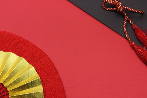 年賀 年賀状 正月 お正月 年賀素材 年賀状用素材 正月素材 和小物 和風 和 素材 伝統 飾り 正月飾り 新年 扇子 赤 組み紐 金
