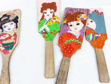正月 女 子供 キャラクター 昭和 遊び 昔 羽子板