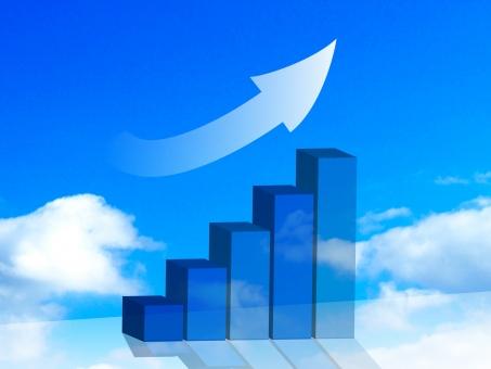 青空 空 雲 ビジネス グラフ 右肩上がり 上がり 矢印 上がり調子 景気 売れ行き 契約数 数 比較 爽やか イメージ 企画 図 資料