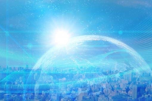 地球とネットワークとビジネス街のイメージ背景素材の写真