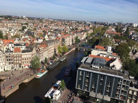 オランダ アムステルダム 町並み 街並み 建物 空 外国 風景