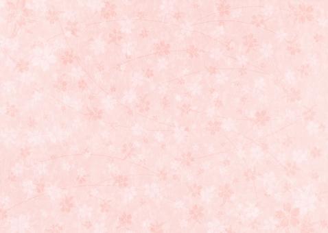 和紙に桜のテクスチャー_橙の写真