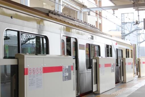 電車 通勤電車 東急線 東横線 ドア 駅 ホーム