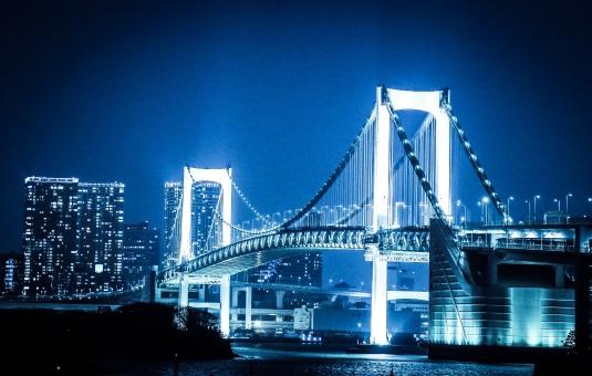 東京 夜 夜景 お台場 綺麗 風景 光 明かり レインボーブリッジ レインボー ブリッジ 青 水 海 冷たい 冬 橋 眺め 綺麗 ビル 建物 建造物 観光 観光地 人気 デート 女性 男性