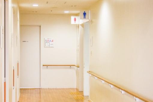 トイレ 廊下 公衆便所 ウォータークローゼット WC お手洗い 男子 女子 男性 女性 クリニック 施設 明るい ぬくもり 清潔 手すり 病院 バリアフリー 高齢化 介護 フローリング