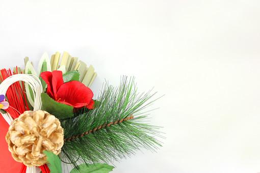 正月 新年 年賀状 素材 和 注連縄 松 正月飾り