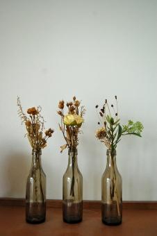 花 インテリア 小物 ドライフラワー アクセント 空き瓶 瓶 バラ 薔薇 造花 フェイクフラワー アートフラワー