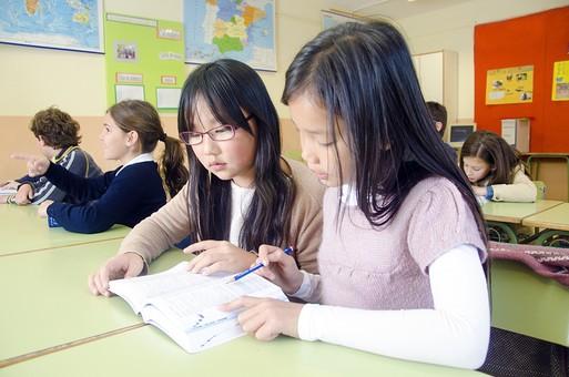 人物 生物 人間 外国人 子ども かわいい 小さい キッズ 生徒 学生 学童 幼い 学校 勉強 学び 教育 授業 クラス まじめ 教室 机 教科書 分厚い 本 女子 女の子 クラスメイト 友達 読む mdfk027 mdfk025 mdfk026