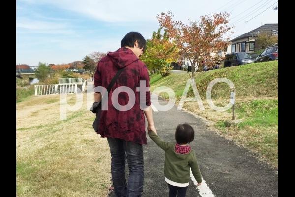 秋の道をパパと散歩の写真