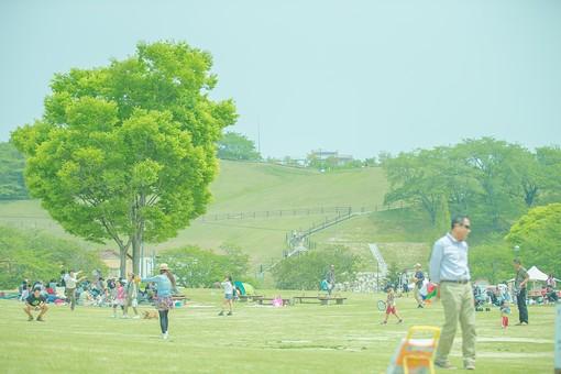 公園 パーク 広場 自然 屋外 野外 樹木 平原 草原 山 林 森 芝生 遊ぶ 人 緑 家族 友人 親子 ファミリー フレンド ピクニック 外出 休日 快晴 天気 青空