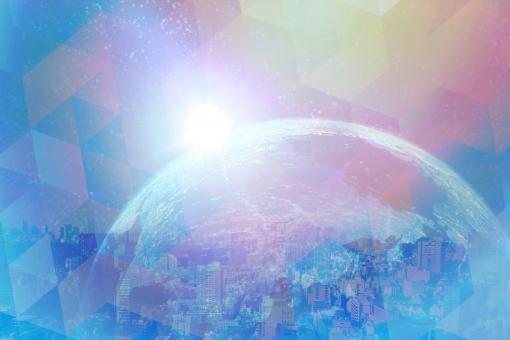 地球とデジタルイメージ背景素材の写真