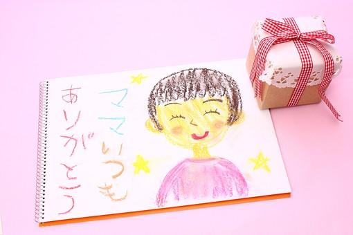 母の日  明るい 春 5月   かわいい イベント 行事  プレゼント ギフト      贈る  ピンク ピンクバック 似顔絵 プレゼント スケッチブック