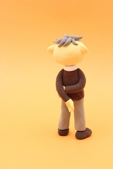 クレイ クレイアート クレイドール ねんど 粘土 クラフト 人形 アート 立体イラスト 粘土作品 人物 笑顔 老夫婦 老人 夫婦 お爺ちゃん おじいちゃん 後ろ姿