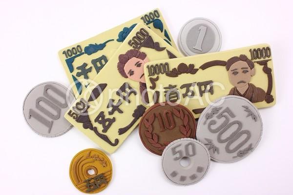 クレイアートのお札と硬貨2の写真