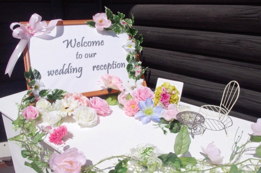 ウェルカムボード welcome wedding ウェディング 結婚 結婚式 花 新郎 新婦 リボン フラワー flower 緑 green 植物