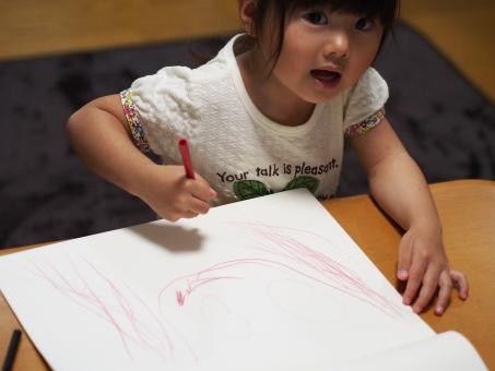 子供 子ども 女児 幼児 色鉛筆 クーピー 画用紙 girl child kids 日本人 japanese draw play 落書き 顔 似顔絵