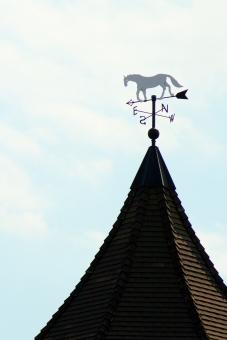 かぜ 風 屋根 馬 方位 ブロンズ おしゃれ シャレオツ ホース 北 南 西 東 金属 方角 空 雲 青空 昼間 外 屋外 背景 風景 朗らか 矢印 印 しるし あっち こっち 美術館 指す