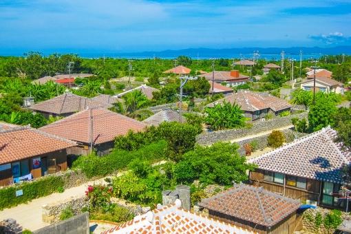 沖縄 石垣島 民家 住宅地 住居 家 ジオラマ 自然 田舎 のどか のんびり うちなー 海 空 雲 青空 屋根 瓦 オレンジ シーサー