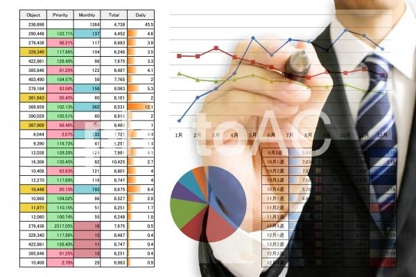 統計資料とビジネスマンの写真