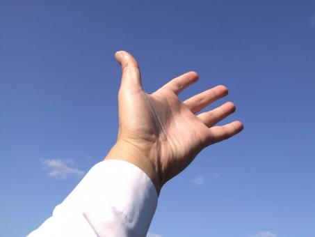 手 てのひら 手のひら 手の平 掌 腕 青空 空 パー 挙手 手を挙げる お手上げ 万歳 バンザイ ボディパーツ 指 じゃんけん ジャンケン パーツ 回答 営業 成績 ビジネスマン サラリーマン 起業 事業 会社 ビジネス 成功 成長