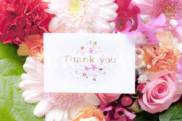 花とThank youカードの写真