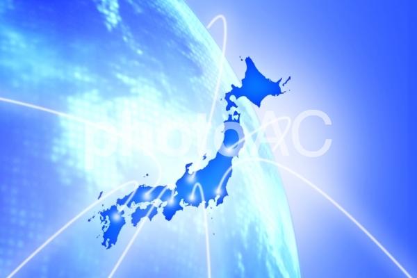 日本地図と地球の写真