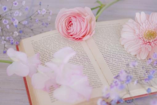 洋書と花たちの写真