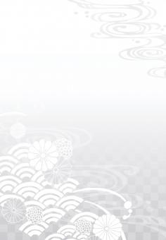 そげ soge 青海波文様 青海波 せいがいは 模様 紋様 文様 和柄 和模様 和紋様 和文様 地紋 和紋 波模様 着物 海 河 川 川面 水 水面 波 線 流水 流水紋 菊 菊模様 菊紋様 菊文様 菊紋 菊柄 花 花模様 花文様 花紋 花紋様 組紐 くみひも 組み紐 組みひも 市松 市松模様 チェック チェッカー 綺麗 きれい キレイ 美しい 風流 雅 飾り 高級 華やか 上品 wave water chrysanthemum pattern beautiful japanese check 和素材 素材 パーツ ごあいさつ ご挨拶 あいさつ 挨拶 グラデーション gradation 縦書き 縦 たてがき たて 長方形 縦向き 縦むき たてむき 銀 灰色 薄墨 グレー シルバー silver gray 法要 法事 お悔やみ 弔事 喪中 フレーム 背景 枠 飾り枠 和風 和