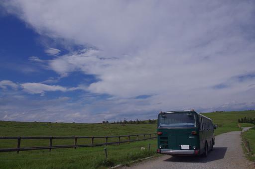 自然 風景 景色 長野県 伊那市 本州 信州 内陸 中部 中部地方 甲信越 甲信越地方 信濃  樹木  植物  空 青空 雲 白い雲 晴れ 晴天 緑 草原 野原 高原 爽やか 丘 広場  丘陵 小高い 道 舗道 草原 柵 バス 乗合バス 移動 車 車両