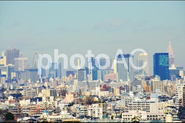 上空から撮った新宿方面の景色の写真