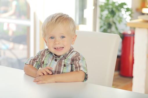 人物写真 ポートレート ポートレイト 人物 人 人間 外国人  幼児 子供  男子 男の子 男児 室内 屋内 座る 椅子 イス 窓 窓際 シャツ チェック ブロンド 金髪 笑顔 笑み テーブル はにかむ mdmk001