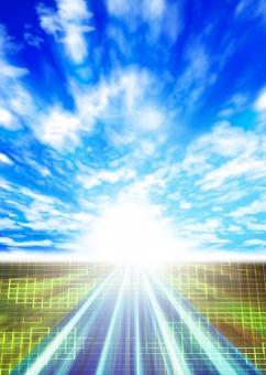 道 近未来 未来 CG IT 放射状 希望 輝き 太陽 チラシ カタログ パンフレット 空 青空 表紙 背景 バック バックグラウンド スピード 青 ブルー blue road IT ビジネス 将来 展望 晴天 フラッシュ web
