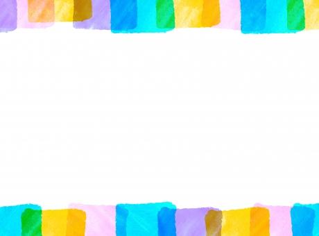 ピンク・水色・青のカラフル四角のフレーム枠-白背景の写真