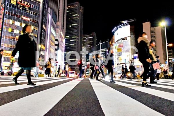 都会の横断歩道の写真