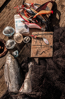 川釣り 河 川 桟橋 木 釣り フィッシング フライフィッシング 魚 釣り人 フィッシャーマン 趣味 ホビー 釣った魚 釣果 獲物 ニジマス 川魚 浮き 釣り道具 擬似餌 ルアー 網 アップ 接写 投げ釣り キャスティング