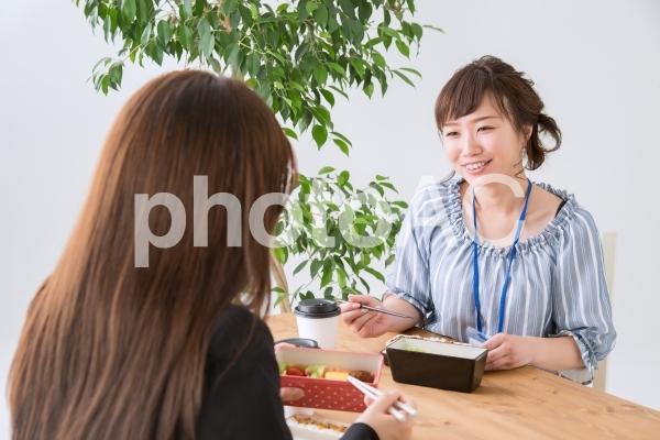 同僚とお弁当を食べるOL(笑顔)の写真