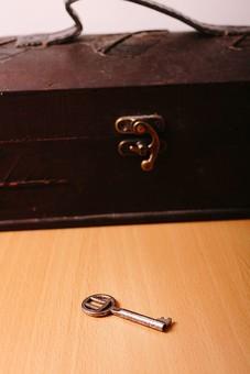 鍵 錠 キー 器具 道具 セキュリティ ロック 閉める 防犯 安全 保護 制限 施錠 秘密 シークレット 隠す 隠された 封じる 開ける  銀色 シルバー シルヴァー テーブル 木目 箱 ボックス ケース 宝箱