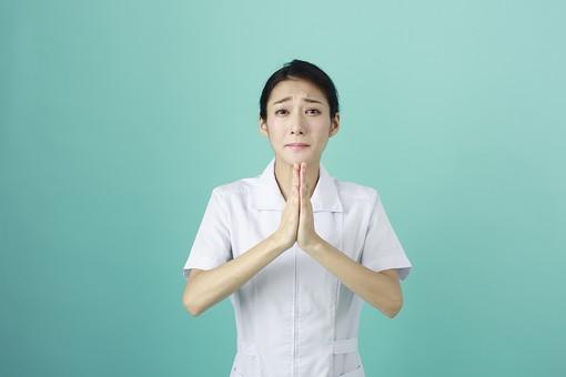人物 女性 日本人 20代 30代   仕事 職業 医療 病院 看護師  ナース 医者 医師 女医 薬剤師  白衣 看護 屋内 スタジオ撮影 背景  グリーンバック おすすめ ポーズ 上半身 お願い 頼む 懇願 手を合わせる 謝る ごめんなさい  mdjf010