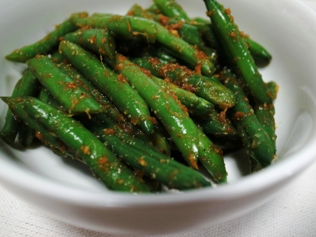 さやいんげん いんげん インゲン 胡麻和え ごま ゴマ 生姜 ショウガ 惣菜 おかず 野菜 緑 白 料理 手料理 和食 手作り 食べ物