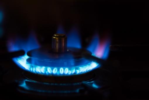 料理 クッキング 台所 キッチン インテリア 青 ブルー 火 炎 調理 ガス 焼く コンロ 鍋 ファイア 煮込む 都市ガス