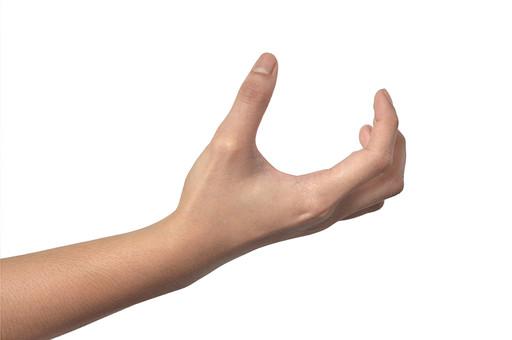 人物 背景 白 白背景 白バック 切り抜き パーツ ボディパーツ 腕 数字 片手 ポイント 指 手首 ジェスチャー 身ぶり 肌 余白  シンプル ハンドパーツ 右手 掴む 持つ 受け取る 載せる 人の手